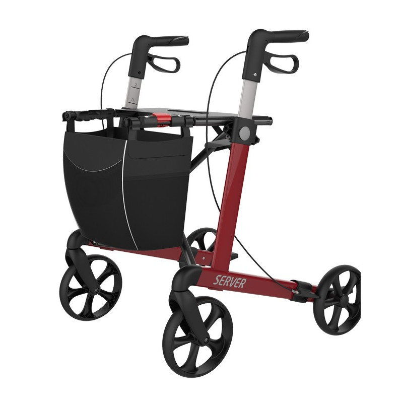 Rød rollator I aluminium