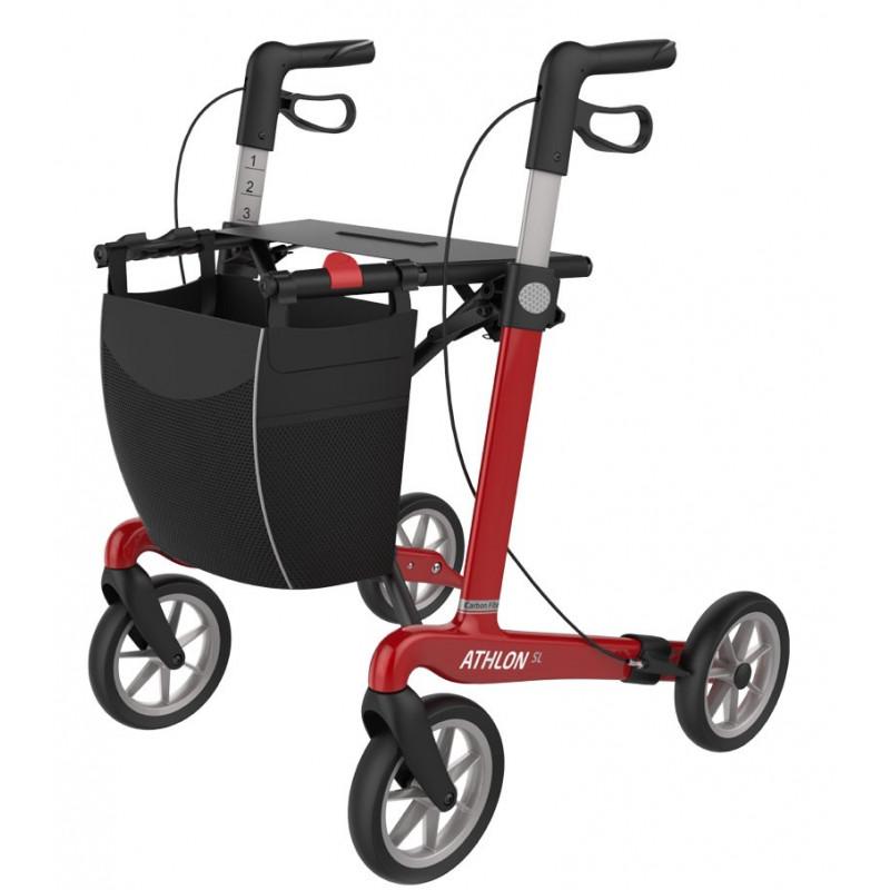 Rød ATHLON SL rollator med soft hjul